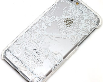 White Koi Fish Henna Mandala Style Transparent Clear Phone Case iPhone 6, 7, SE, 6 Plus, 7 Plus, 6S, 5, C, 5S, Galaxy S6, S7, Note 5, Note 7