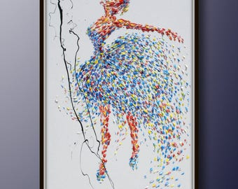 "Painting ballerina 55"" original painting on canvas, figure painting, thick oil paint, extremely special, Express Shipping, By Koby Feldmos"