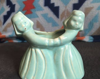 Vintage planter blue ceramic planter two girls holding hands dutch children