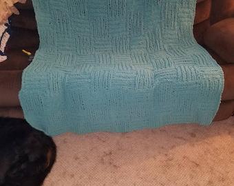 Big Basketweave Knit Afghan
