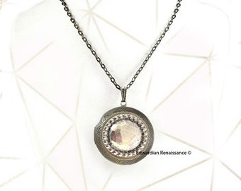 Faceted Gem Pill Box Locket in Burnished Silver Oval Locket Necklace  with Personalized Options