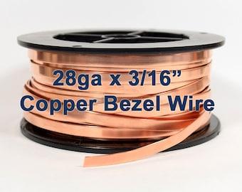 "28ga x 3/16"" Copper Bezel Wire - Choose Your Length"