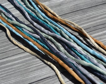 LAKE VIEW Cords, Cording Assortment Qty 8 Strings 3-4mm Thick, Hand Dyed Silk Strings, Blues Grays Tan Ivory, JamnGlass Silks