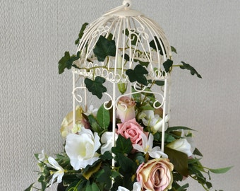 Wedding Bird cage Floral decoration.Blush Vintage Pink. Ivory