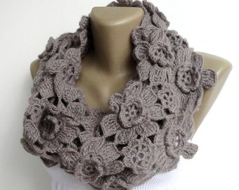 Scarf Women Alpaca Scarf Infinity Scarves Lariat Scarf Chunky Scarf Circle Scarf Crochet Floral Scarf Gifts For Her