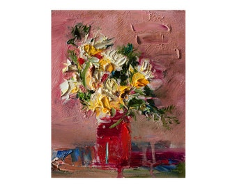 White Flowers in a Red Glass, Original Oil Floral Still Life Painting Abstract Art Small Impasto Thick Paintings Texture Colourful Oils Pink