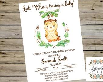 OWL BABY SHOWER, Cute Owl Baby Shower, Baby Shower, Cute Owl Baby Shower, Watercolor Owl, Baby Owl, Digital Printable