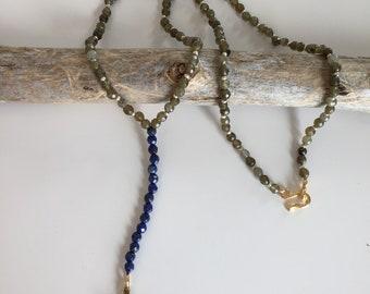 Artisan handmade gemstone lapis lazuli labradorite Y necklace gold cross beaded Sundance