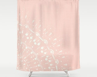 Blush Pink Shower Curtain, pink shower curtain, blush pink curtain, pale pink curtain, pink bathroom, blush shower curtain