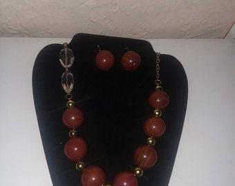 Unique brown , gold and clear Necklace