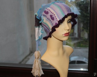Old Times Wool Hat, Womens Hat, Romantic Hat, Vintage Boho Accessories, Gipsy Hat, Warm Hat, White Purple Hat