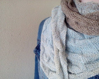 Handknit Blue, beige, ecru, brown shawl/wrap/stole/shoulderwarmer 100 farbspiele gradient yarn cottonmix *ready to ship*