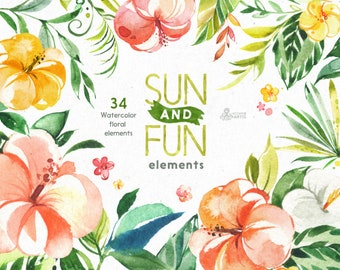 Sun&Fun. 34 Separate Floral Elements. Watercolor summer clipart, flowers, jungle, hibiscus, holiday, tropical leaves, trip, sun, leaf,
