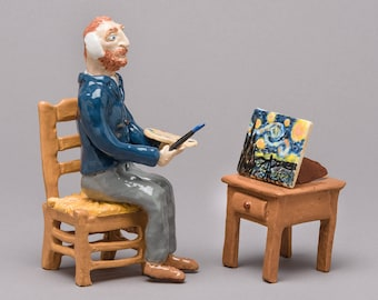 ceramic / clay hand built sculpture of artist Vincent Van Gogh with Starry Starry Night painting