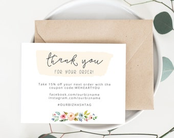 INSTANT Business Thank You Cards, Editable PDF Printable Packaging Inserts for Online Shop, Etsy Sellers, Watercolor, Floral Sophia Template