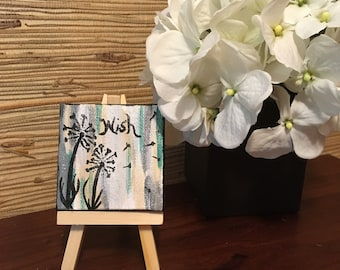 Mini canvas/personalized/Flowers/color options/ home / office/ accent/wedding favor
