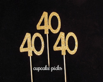 40th Cupcake Toppers, 40th Cupcake Picks, 40th Birthday Decorations, Gold Glitter 40th Birthday Cupcake Picks