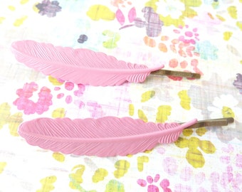 Pink Enamel Feather Hair Bobby Pins - Enamel Hair Pins - Woodland Collection - Whimsy - Bridal