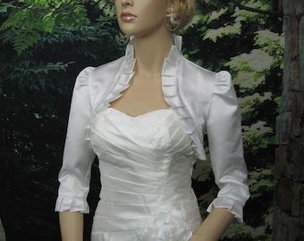 White 3/4 sleeve satin bolero wedding bolero jacket shrug