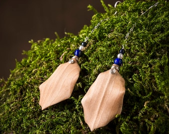 Leaf wood earrings with silver chain, lapislazuli, pearls, perfect gift