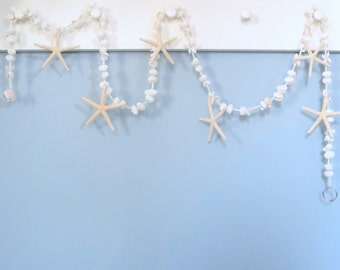 Beach Decor Seashell Garland, Nautical Decor Starfish Garland, White Shell Garland, Coastal Decor, Beach Christmas Garland, 5FT  #WSSFG