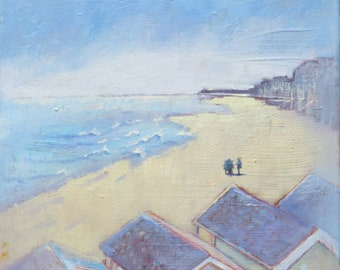 """Seaside Oil Painting """"Norfolk Beach with Beach Huts"""" Impressionist Canvas Art 12"""" x 12"""""""