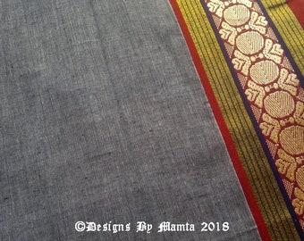 Gray Dual Tone Cotton Saree Fabric, Ikat Sari Indian Fabric,  Ilkal Saree Fabric, Curtain Material, Cotton Fabric Stores, Belly Dance Fabric