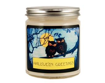 Halloween Owls Candle, Scented Candle, Soy Candle, Vintage Halloween Candle, Container Candle, Soy Candle, Halloween Candle, Halloween Decor