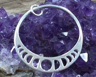 Moon Charm, Phases of the Moon Charm, Celestial Charm, Moon Phases Charm, Sterling Silver, Crescent Moon Charm, Necklace Pendant