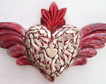 Milagros Heart with Wings, Ex Voto, Winged Heart With Flames, Mexican Milagro Charms, Sacred Heart, 5th Anniversary Gift