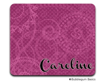 Personalized MOUSEPAD Custom RECTANGLE or CIRCLE For Rose Magenta Swirls  - any monogram name initial Office Home Computer