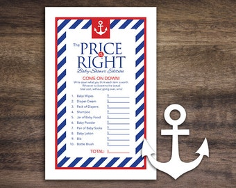 Instant Download Anchor Baby Shower The Price Is Right Game Cards, Printable Party Sheets, Boy Red White Blue Striped Sailor Nautical #26A