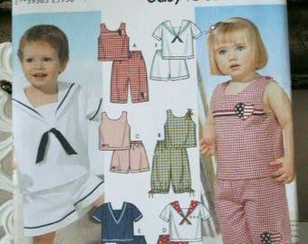 UNCUT Vintage Simplicity 5982 Sewing Pattern Toddler Nautical Girl Sailor Collar Shorts Boy's Sailor Suit Sewing Pattern Size 6 Mo. 1 2 3 4