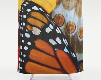 Butterfly Shower Curtain, Monarch, Butterfly Wings, Boho Shower Curtain, Girls Bathroom Decor, Shabby Chic Bath Curtain, Cottage Decor