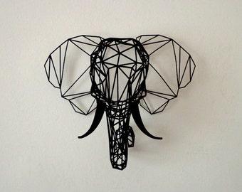 Medium Black 3D Printed Faceted Elephant Trophy Head