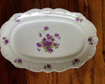 Schumann Arzburg Bavarian Violette Oval Serving Platter Gold Trim