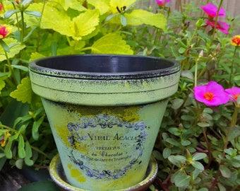 Peint le Pot de fleur - Français timbre - aspect rustique - jardin Decor - Boho Decor