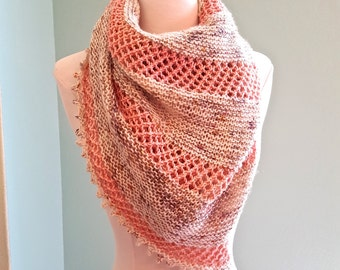 Knit Shawl, Knit Wrap, Knit Lace Shawl, Knit Triangle Scarf, Boho Scarf, Made From Madelinetosh Pure Hand-dyed Merino Wool