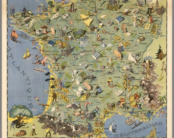 Vintage France Map from 1948, old France Map from 1948 Digital Download