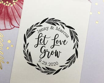 Let Love Grow Stamp, Wedding Favor Stamp, Personalized Wood Rubber Stamp, Custom Wedding Self Ink Stamp, Fern Wreath, Succulent Favors Stamp