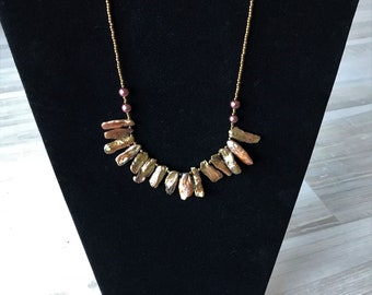Custom handmade copper beaded necklace, fun and funky. 18 inches, perfect for that little black dress