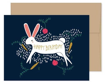 Rabbit Birthday Cards, Blank Rabbit Cards, Rabbit Boxed Set, Bunny Happy Birthday, Bunny Greeting Cards, Rabbit Stationery