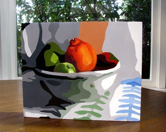 Tangelos and limes in bowl original fruit painting 8x10 inch oil painting on cradled wood panel semi abstract still life Lisa Foster