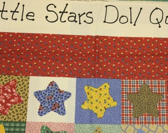 "Little Stars Doll/Decor Quilt panel 3 quilts 31.5"" x 28.25"" & 2@ 12.25"" x 12.5"" 100% cotton fabric"
