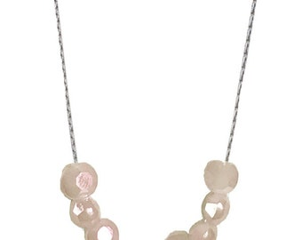 Champagne crystals necklace gold or silver plated