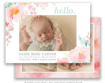 Watercolor Girl Birth Announcement Template - 5x7 birth announcement template - newborn girl photography template  INSTANT Download