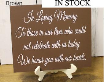 In Loving Memory/Memorial Sign/U Choose Colors/Great Shower Gift/U Choose Color/Wood Sign/Hand Painted/Black/brown/Navy/Plum/White