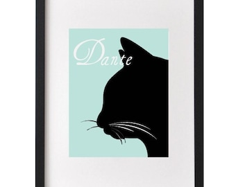 Custom Pet Silhouette Print, Gifts for Pets, Made from your Photograph