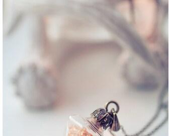 glass Bottle necklace, Glass pendulum pendant, vial diamond bottle necklace, rhinestones bottle  jewelry, girlfriend gift for women