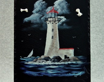 Painted Slate - Lighthouse *Personalization No Charge*